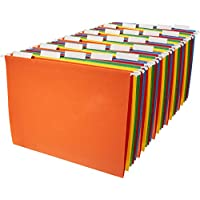 AmazonBasics Hanging File Folders, Letter Size, 1/5 Cut Tab, Assorted Primary Colors, 25 ct