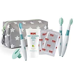 德国 NUK 幼儿牙刷牙膏套装(牙膏*1、分阶段固牙练习组*1、幼儿学习牙刷*1、口腔清洁棉*25片、收纳包*1)(德国)
