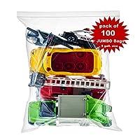 Shiny Select PRC [ 100 支] 超大超大超大包袋,拉链和锁特大塑料袋,45.72cm x 60.96cm 透明 5 加仑袋,100 支