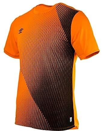 Umbro 男士 Silo Training Velocita 图形 T 恤运动衬衫,橙色(土耳其/黑*),小号