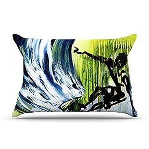 Kess InHouse Josh Serafin Greenroom Green Blue 30 x 20 英寸枕套,标准