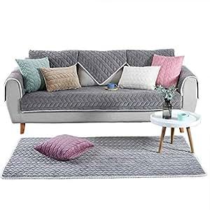 "OstepDecor 多尺寸柔软长方形冬季绗缝家具保护套和沙发套 适用于宠物、儿童、狗 - 大号标准沙发、双人椅子、躺椅和椅子 灰色 28""W x 82""L"
