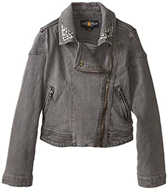 Lucky Brand 大女童机车夹克,灰色水洗,S 码