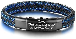VNOX 爸爸珠宝手工蓝色编织皮革可调节袖口手镯礼品送给男士父亲形态儿子女儿孩子妻子
