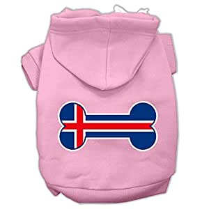 Mirage Pet Products 骨头形状冰岛国旗丝网印花宠物连帽衫 浅粉色 3X-Large