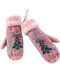 LABANCA 女式针织冬季保暖猫圣诞树手套带绳手套