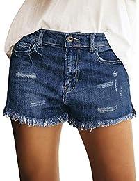 GRAPENT 女式高腰牛仔短款休闲破洞折叠下摆牛仔短裤