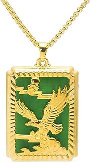 Xusamss 朋克珠宝镀 18K 金龙鹰狗牌吊坠项链,22 英寸(约 55.88 厘米)盒子链