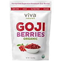 Viva Naturals Premium Himalayan Organic Goji Berries, Noticeably Larger and Juicier, 1lb