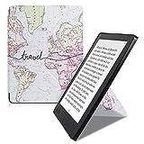 kwmobile Origami Kobo Aura H2O Edition 2 手机壳 - 超薄贴合高级 PU 皮套带支架 - 黑色43687.12_m001187 .World Map Travel black/multicolor