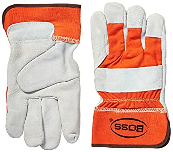 Boss Gloves 2393 双皮革手掌手套 白色 2370-9744
