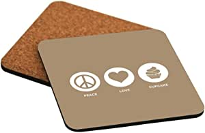 Rikki Knight Peace Love Cupcake Brown Color Design Cork Backed Hard Square Beer Coasters, 4-Inch, Brown, 2-Pack