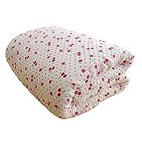 棉尚生活 纯棉包布新疆棉花被 被子床褥单人双人纯棉被芯春秋被褥子垫被 小樱桃花色 (新疆棉花4斤, 180*220)