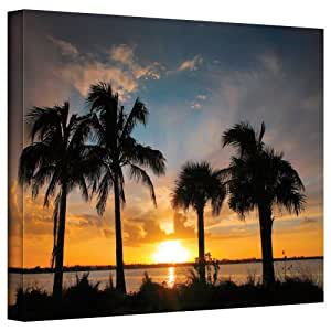 Art Wall 'Tropical Sunset' Gallery Wrapped Canvas Artwork by Steve Ainsworth, 16 by 24-Inch