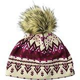 Jack Wolfskin 女士可怕的羊毛无檐小便帽,带人造毛皮绒绒球帽