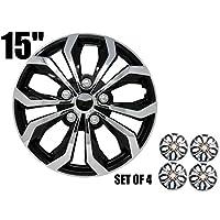 """SUMEX """"SPA 性能轮罩,轮毂盖双色黑色/镀铬银色表面(4 件装) 15英寸 138S"""