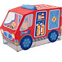 HABA 304210 – 消防队游戏帐篷,消防车面料,带可旋转方向盘,18个月以上适用,尺寸:长127 x 宽 64 x 高 95 厘米
