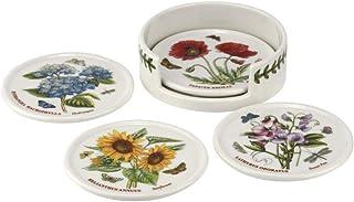 Portmeirion BG79170-XP 植物园杯垫 4 件套和支架,陶瓷