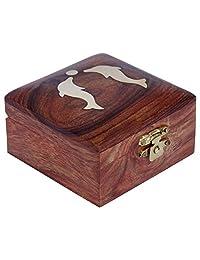 ITOS365 手工木质首饰盒 适合女士 Jewel Organizer 手工雕刻礼品品 海豚