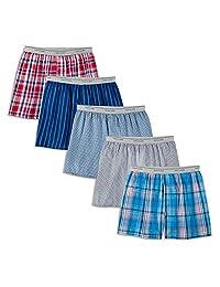 Fruit of the Loom 男式针织格子呢和格子平角内裤5件装