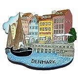 Nyhavn Harbor 丹麦哥本哈根,高品质树脂 3D 冰箱磁贴