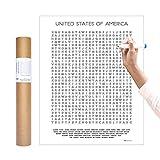 Inkwell Goods 美国旅行支票单彩搜索海报 + 活动打印 - 家居装饰壁画。 送给冒险旅行者的礼物 – 用于教育+学习 – 美国制造 40.64 x 50.8 厘米