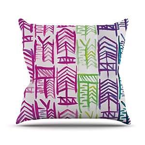 Kess InHouse Theresa Giolzetti Quiver 室内/室外抱枕 18 x 18 英寸(长x宽) Pink/Green/Purple TW1017COP03