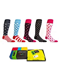 长袜女式 Zicci 及膝袜 5 件套礼品盒及膝袜礼物送给她的疯狂礼服袜