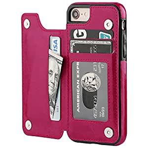 iPhone 8钱包式保护套内设卡片支架 OT onetop iphone 7手机壳钱包高级 PU 皮革支架卡槽双磁性扣和耐用防震 COVER 11.9cm iPhone 7/iPhone 8 Pink
