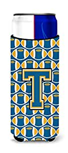 Caroline's Treasures CJ1077-TMUK Letter T Football Blue and Gold Michelob Ultra Koozie for slim Cans, Multicolor