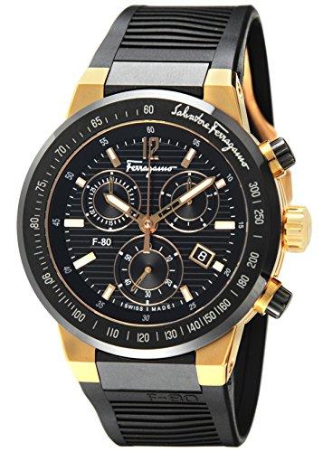 [Flagamu] Salvatore Ferragamo腕時計F-80ブラックダイヤルクロノグラフF55LCQ75909S113メンズパラレルインポート