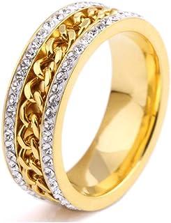 Xusamss 时尚镀金不锈钢链水晶戒指