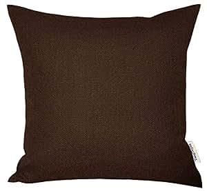 "TangDepot 亚麻手工纯色装饰抱枕/枕套,厚软 巧克力色 26"" x 26"" TPCover-SolidLinen-26x26Chocolate"