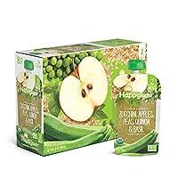Happy Baby 禧貝 透明裝嬰兒食品2段,西葫蘆,蘋果,豌豆,藜麥和羅勒泥,4盎司(113克)袋,共計16袋