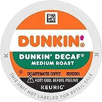 Dunkin' Donuts 原装混合咖啡K杯胶囊,脱因咖啡,中度烘焙,适合Keurig 咖啡机,0.37盎司(10.471克),10粒(6件装)