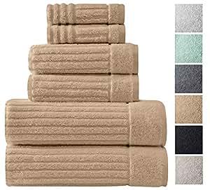 奢华浴巾系列套装–超吸水和毛绒 Complete 毛巾套装带独特罗纹设计–制造,100% 棉
