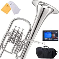 Mendini MAH-N Nickel Plated E Flat Alto Horn with Stainless Steel Pistons