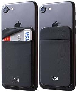 [TWO] 氨纶卡套手机钱包式手机夹,适用于智能手机、iPhone 7、8 Plus、三星盖乐世手机钱包手机壳 3M 胶带 黑色 2 件