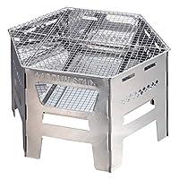 CAPTAIN STAG鹿牌燒烤爐 防火板 荷蘭烤箱 煮飯 1臺4用 六角形不銹鋼咖喱烤爐 附接腳口、爐架、包U$3