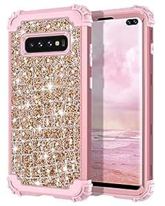 Hekodonk Galaxy S10 Plus 手机套,奢华闪耀闪亮重型防震全身保护壳高强度装甲混合保护套适用于三星 Galaxy S10 PlusHC0202-01 闪亮玫瑰金