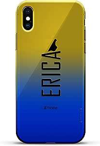 豪华设计师,3D 印花,时尚,高端,变色效果手机壳,适用于 iPhone Xs/X - 黄昏蓝小白色棒球图案LUX-IXCRM2B-NMERICA2 NAME: ERICA, MODERN FONT STYLE 蓝色(Dusk)