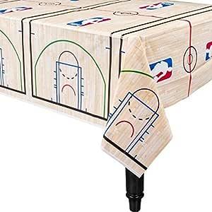 Amscan 运动和后挡板Spalding 派对篮球塑料桌套,蓝色/红色,137.16 cm x 243.84 cm 白色