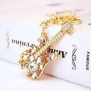 Jzcky Shzrp 可爱吉他形状水晶水钻钥匙链 钥匙链 闪亮钥匙圈 魅力钱包 吊坠 手提包 装饰节日礼物 香槟色