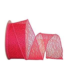 Reliant Ribbon 90411W-222-40J 网状天然有线边缘丝带,紫红色