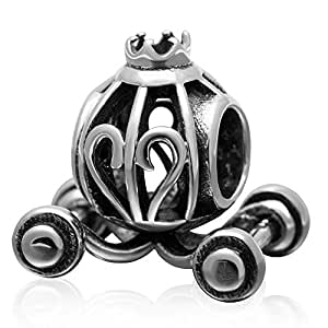 Carriage Charm 925 纯银万圣节南瓜吊坠 Jack-O 灯笼坠饰适用于潘多拉吊坠手镯 D unknown