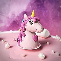 Astra 美食 1 件迷你聚合物粘土独角兽雕像蛋糕装饰,独角兽派对装饰,适合宝宝派对和生日聚会