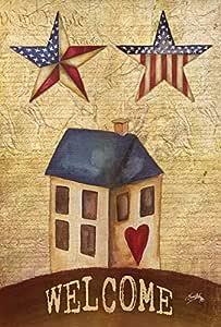 Toland Home Garden 美国星球欢迎 31.75 x 45.72 cm 装饰性质朴爱国主义美国花园旗帜