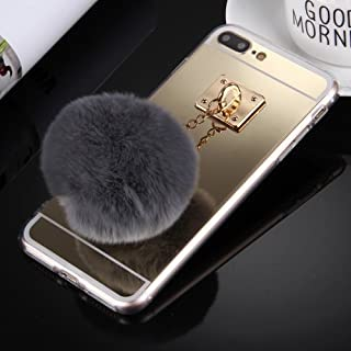 alsatek Tpu 手机壳适用于 iPhone 4 带集成钥匙环和绒球金色