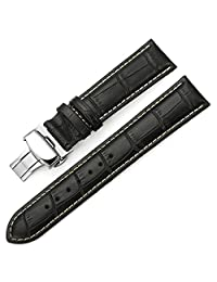 istrap 牛皮表带 真皮表带 男女通用手表带 蝴蝶扣银色 黑色白线18mm