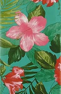 """异域热带花卉和叶子乙烯基法兰绒背桌布 Green Blue Background 52"""" x 70"""" Oblong 43397-10783"""